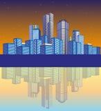 Paesaggio della città con la siluetta Fotografia Stock Libera da Diritti