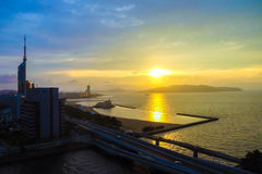 Paesaggio della città di Fukuoka nel Giappone Immagini Stock Libere da Diritti