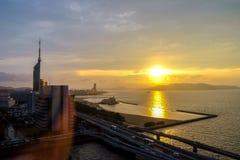 Paesaggio della città di Fukuoka nel Giappone Fotografia Stock Libera da Diritti