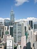 Paesaggio della città di Hong Kong da una vista di occhio dell'uccello Fotografie Stock