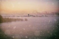 Paesaggio della città di inverno Fotografia Stock Libera da Diritti