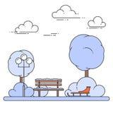 Paesaggio della città di inverno con il banco, slitta in Central Park Illustrazione di vettore Linea arte illustrazione di stock