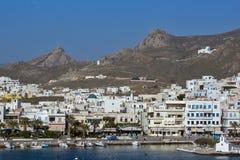 Paesaggio della città di Naxos, isole di Cicladi Fotografia Stock
