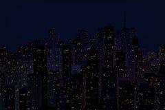 Paesaggio della città di notte Fotografia Stock