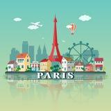 Paesaggio della città di Parigi Illustrazione piana di progettazione Immagini Stock