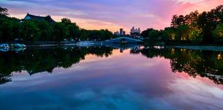Paesaggio della città di Wuhan fotografia stock libera da diritti