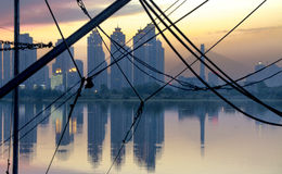 Paesaggio della città di Wuhan immagine stock