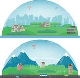 Paesaggio della città e paesaggio suburbano Architettura della costruzione, città di paesaggio urbano Città e sobborgo moderni Ve Immagini Stock Libere da Diritti
