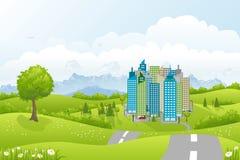 Paesaggio della città nelle montagne Immagini Stock Libere da Diritti