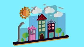 Paesaggio della città nello stile piano tridimensionale La città con le case con il tetto pendente e le varie belle mattonelle co royalty illustrazione gratis
