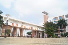 Paesaggio della città universitaria della High School della botola Fotografia Stock