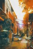 Paesaggio della città di autunno del vicolo Immagine Stock
