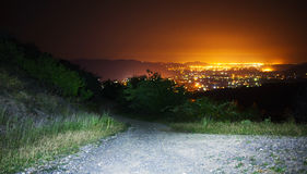 Paesaggio della città di notte Fotografie Stock
