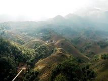 Paesaggio della collina con nebbia Fotografia Stock Libera da Diritti