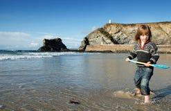 Paesaggio della Cornovaglia della forcella di festa della spiaggia Fotografie Stock