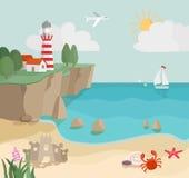 Paesaggio della costa del fumetto, vista sul mare con la sabbia, onde, stelle marine Immagine Stock