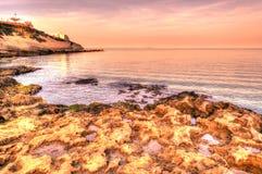 Paesaggio della costa torres della Sardegna, Oporto, spiaggia di balai Fotografia Stock