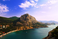 Paesaggio della Crimea della montagna nel primo mattino Immagini Stock Libere da Diritti