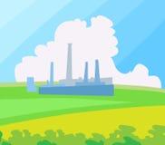 Paesaggio della fabbrica. Illustrazione di vettore. Fotografia Stock Libera da Diritti