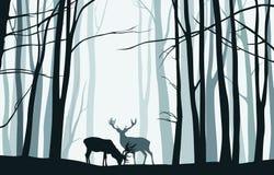Paesaggio della foresta con le siluette blu degli alberi e dei cervi - vect illustrazione vettoriale