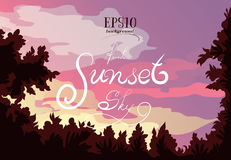 Paesaggio della foresta, del tramonto, delle nuvole e di bello cielo Fotografie Stock Libere da Diritti