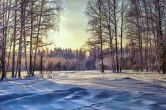Paesaggio della foresta della pittura a olio con l'inverno Fotografie Stock Libere da Diritti