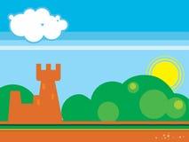 Paesaggio della foresta e del castello Immagini Stock Libere da Diritti