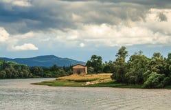 Paesaggio della Francia e del fiume Rodano Fotografie Stock