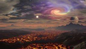 Paesaggio della lava sugli stranieri del pianeta stock footage
