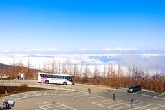Paesaggio della linea della nuvola di vista con le alpi del Giappone sulla quinta stazione Mt F Immagine Stock