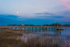 Paesaggio della luna piena Fotografie Stock
