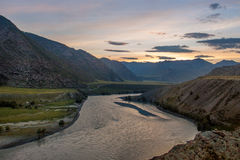 Paesaggio della montagna al tramonto Fotografie Stock