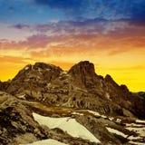 Paesaggio della montagna al tramonto in dolomia di Sesto Fotografia Stock Libera da Diritti