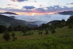 Paesaggio della montagna Alba nelle nubi Nebbia densa con luce morbida piacevole Sul prato inglese l'erba e gli alberi Stazione t fotografie stock