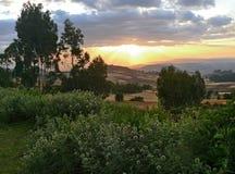 Paesaggio della montagna. Cielo nuvoloso illuminato dal tramonto. L'Africa Immagine Stock Libera da Diritti