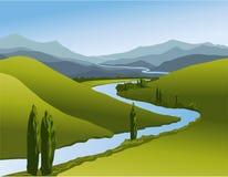 Paesaggio della montagna con il fiume Fotografie Stock