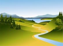 Paesaggio della montagna con il fiume Immagini Stock