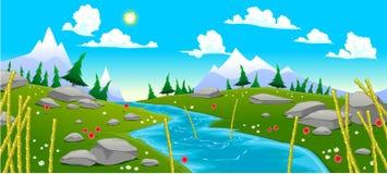 Paesaggio della montagna con il fiume Immagine Stock