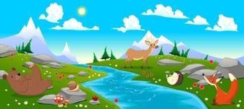 Paesaggio della montagna con il fiume e gli animali Fotografie Stock