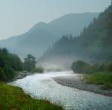 Paesaggio della montagna con il fiume veloce Fotografia Stock