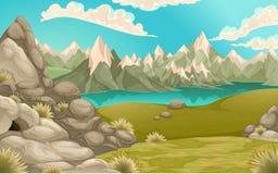 Paesaggio della montagna con il lago illustrazione di stock