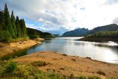 Paesaggio della montagna con il lago e la foresta. Fotografie Stock Libere da Diritti