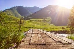 Paesaggio della montagna con il ponte di legno Fotografia Stock