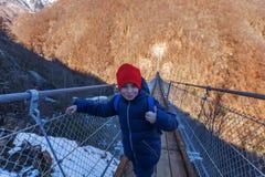 Paesaggio della montagna con il ponte sospeso fotografia stock