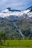 Paesaggio della montagna con la cascata Immagine Stock