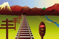 Paesaggio della montagna con la ferrovia Immagine Stock