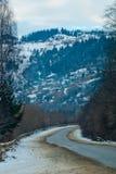 Paesaggio della montagna con la foresta attillata e le case tradizionali Fotografia Stock