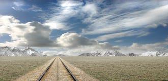 Paesaggio della montagna con la riga ferroviaria Immagine Stock Libera da Diritti