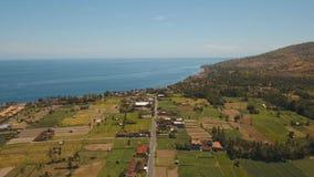 Paesaggio della montagna con la valle ed il villaggio Bali, Indonesia Fotografia Stock Libera da Diritti