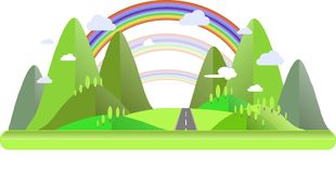 Paesaggio della montagna con le colline verdi, gli alberi, le nuvole blu e bianche grige della strada, dell'arcobaleno, Fotografie Stock